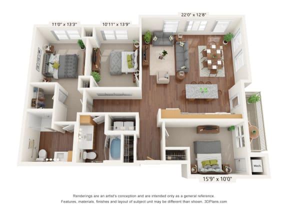 Floor Plan  Bren Road Station_3 Bedroom Floorplan_3C-ADA