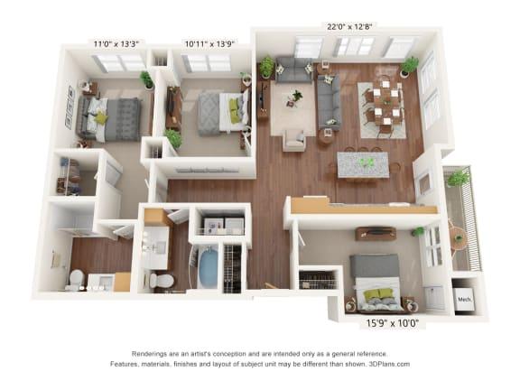 Floor Plan  Bren Road Station_3 Bedroom Floorplan_3D