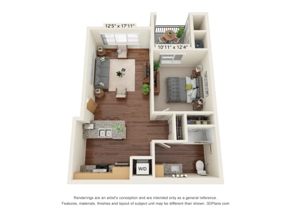 Floor Plan  South Range Crossings_1 Bedroom_A1-ADA