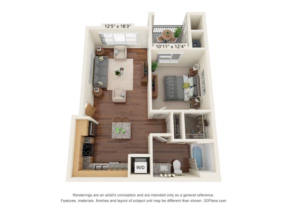 Floor Plan  South Range Crossings_1 Bedroom_A1