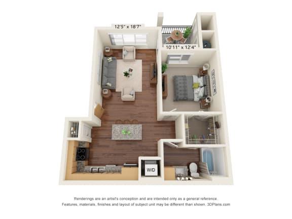 Floor Plan  South Range Crossings_1 Bedroom_A2