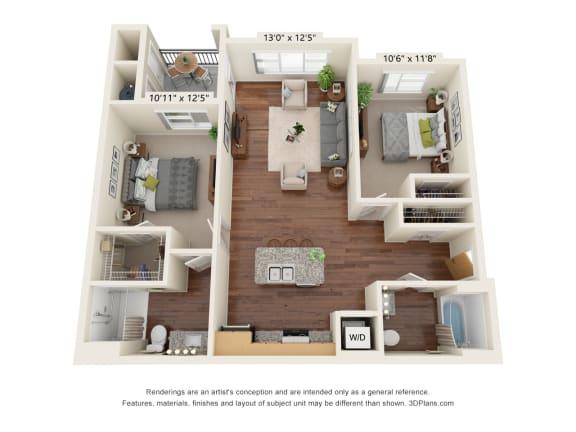 Floor Plan  South Range Crossings_2 Bedroom_B1-ADA