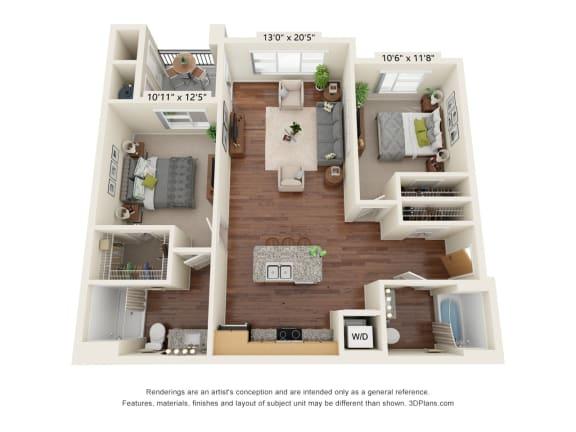 Floor Plan  South Range Crossings_2 Bedroom_B1