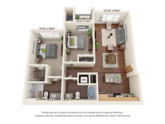 Floor Plan  South Range Crossings_2 Bedroom_D1-ADA