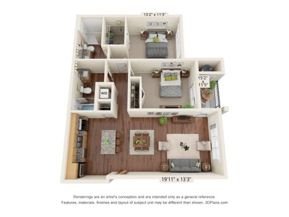 Floor Plan  South Range Crossings_2 Bedroom_D1
