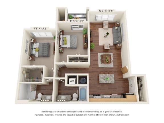 Floor Plan  South Range Crossings_2 Bedroom_D2