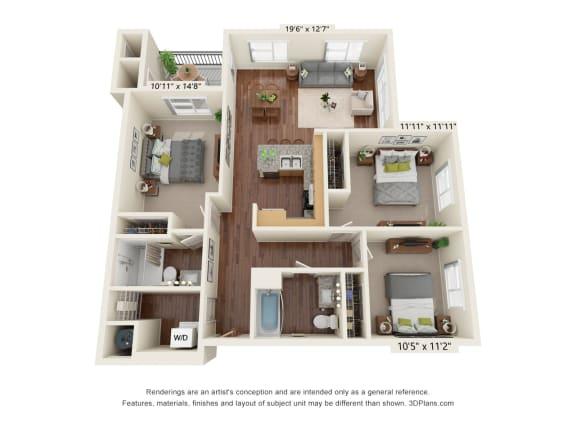 Floor Plan  South Range Crossings_3 Bedroom_C1-ADA