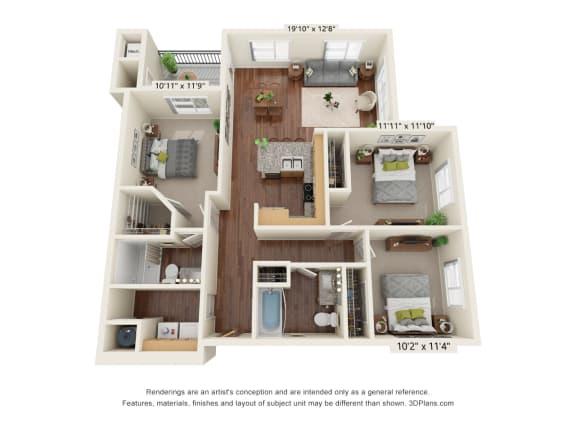 Floor Plan  South Range Crossings_3 Bedroom_C1