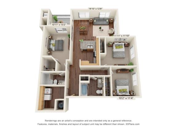 Floor Plan  South Range Crossings_3 Bedroom_C2
