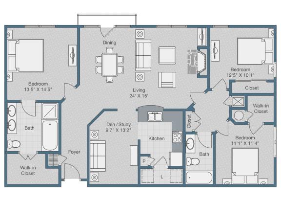 Floor Plan  Three Bedrooms. Two Baths. Den. 1525 SQFT
