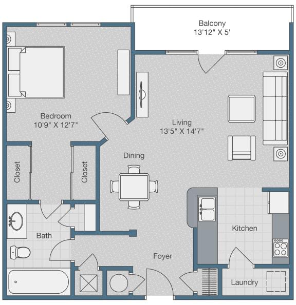 Floor Plan  One Bedroom. One Bath. 710 SQFT