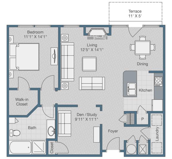 Floor Plan  One Bedroom. One Bath. Den. 1045 SQFT