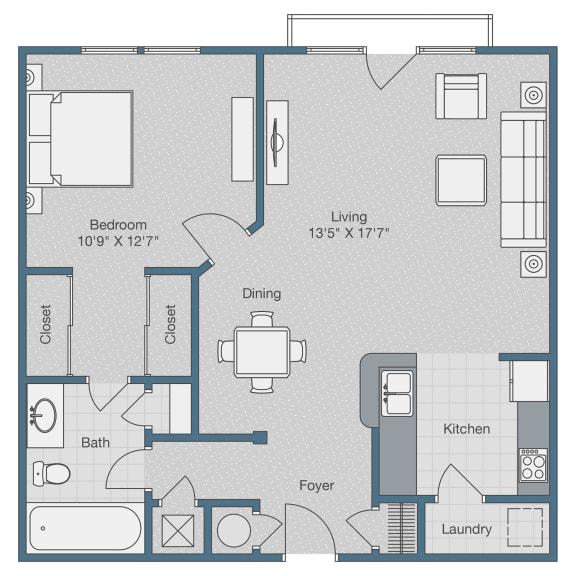 Floor Plan  One Bedroom. One Bath. 750 SQFT