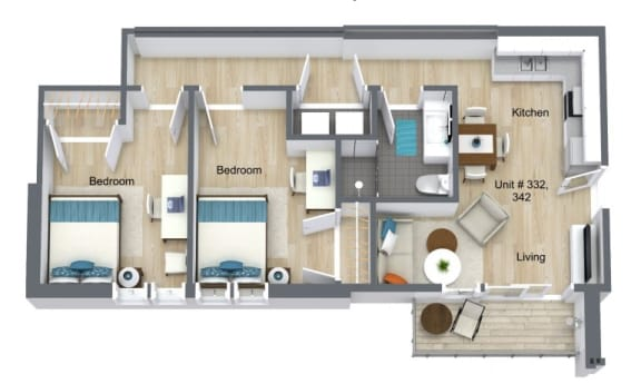 Floor Plan for Unit 332 and 342 at Courtyard Lofts Student Housing Chapel Hill UNC