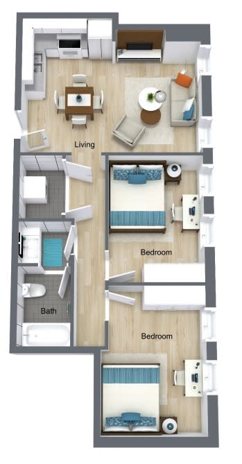 Floor Plan for Unit 424 at Courtyard Lofts Student Housing Chapel Hill UNC