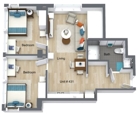 Floor Plan for Unit 431 at Courtyard Lofts Student Housing Chapel Hill UNC