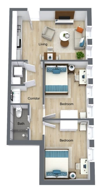 Floor Plan for Unit 434 at Courtyard Lofts Student Housing Chapel Hill UNC