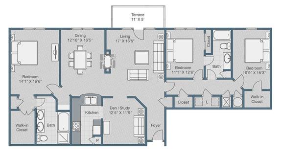 Floor Plan  Three Bedrooms. Two Baths. Den. 1976 SQFT