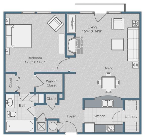 Floor Plan  One Bedroom. One Bath. 845 SQFT