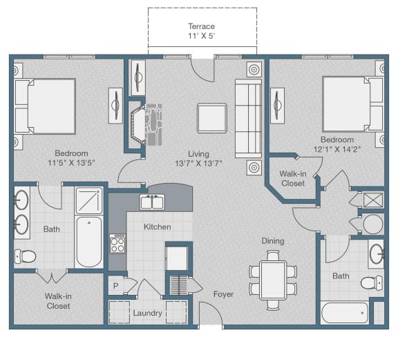 Floor Plan  Two Bedrooms. Two Baths. 1150 SQFT