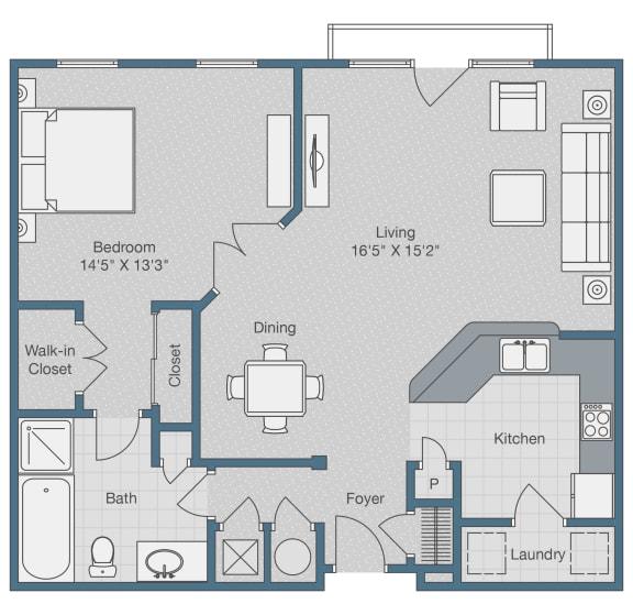 Floor Plan  One Bedroom. One Bath. 945 SQFT