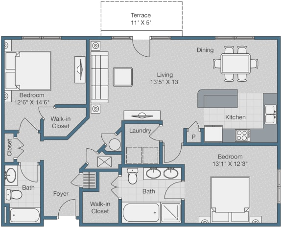 Floor Plan  Two Bedrooms. Two Baths. 1245 SQFT