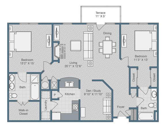 Floor Plan  Two Bedrooms. Two Baths. Den. 1375 SQFT