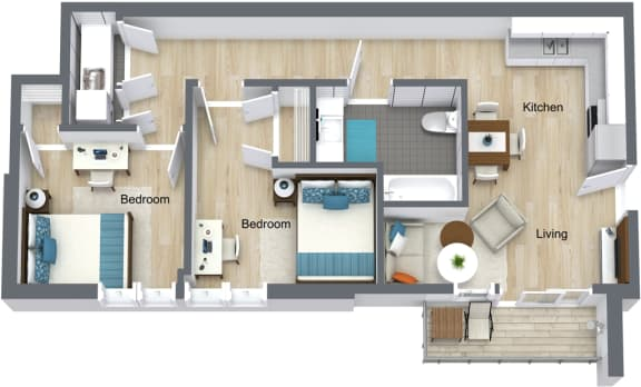 Floor Plan for Unit 322 at Courtyard Lofts Student Housing Chapel Hill UNC