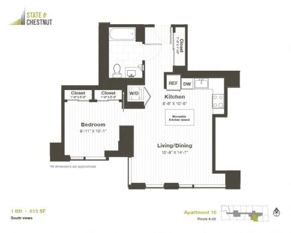 1 Bed 1 Bath Floorplan at State & Chestnut Apartments, 845 N State St, Chicago