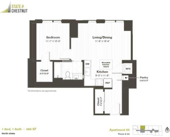 1 Bed 1 Bath Floorplan at State & Chestnut Apartments, Chicago, 60610