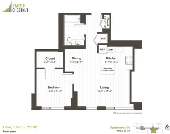 1 Bed 1 Bath Floorplan at State & Chestnut Apartments, 60610, IL