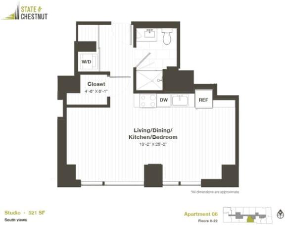 Studio Floorplan at State & Chestnut Apartments, Chicago, IL