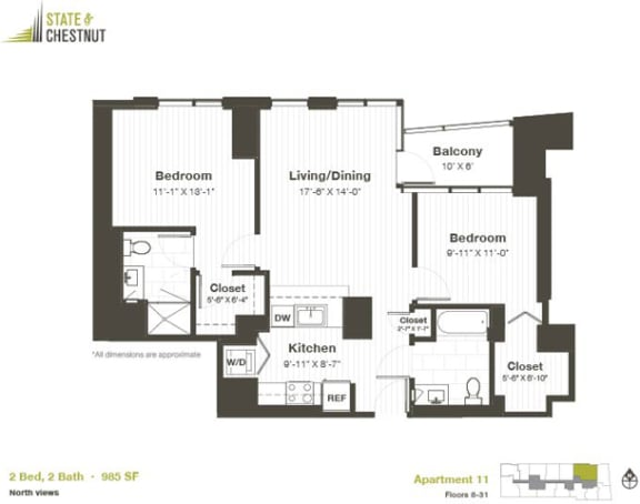 2 Bed 2 Bath Floorplan at State & Chestnut Apartments, Chicago, 60610
