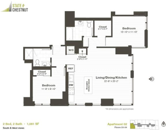 2 Bed 2 Bath Floorplan at State & Chestnut Apartments, 845 N State St, 60610