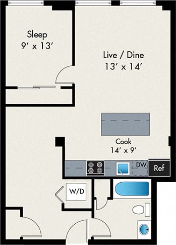One Bedroom apartment at the lofts at gin alley