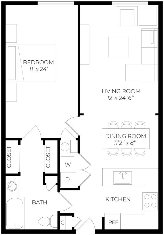 1 Bedroom Extended Floor Plan