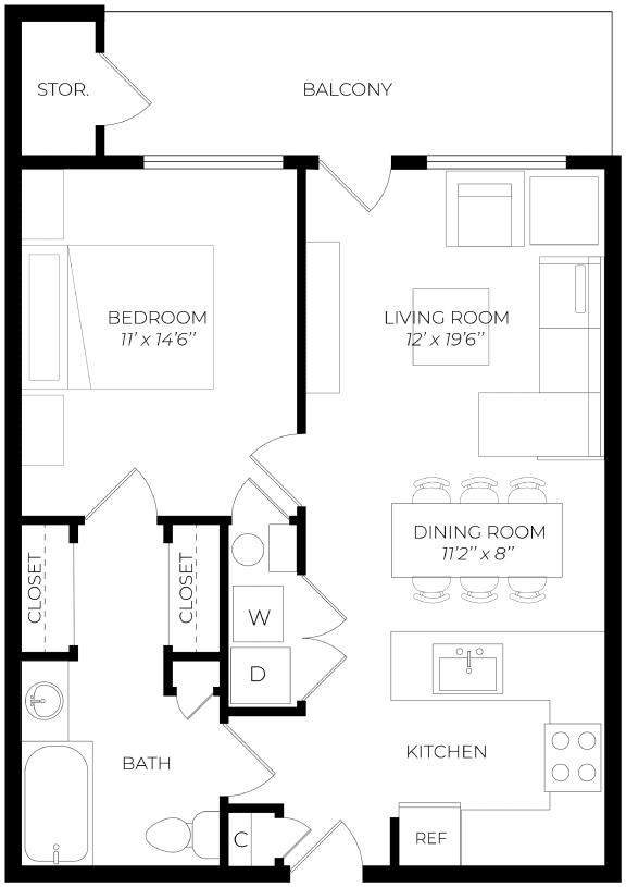 1 Bedroom Patio Floor Plan