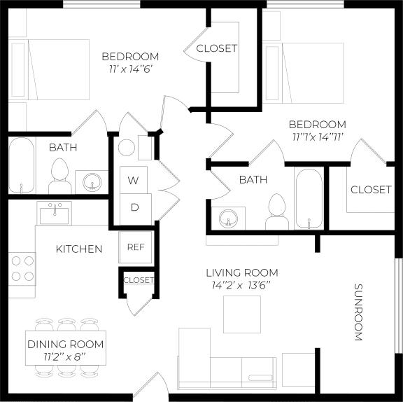 2 Bedroom Sunroom Floor Plan
