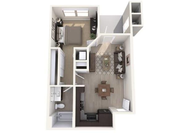 Floor Plan  A1 592 SqFt Floor Plan at The Premiere at Eastmark Apartments, Mesa