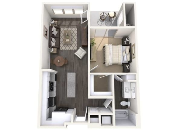 Floor Plan  A3 678 SqFt Floor Plan at The Premiere at Eastmark Apartments, Arizona, 85212