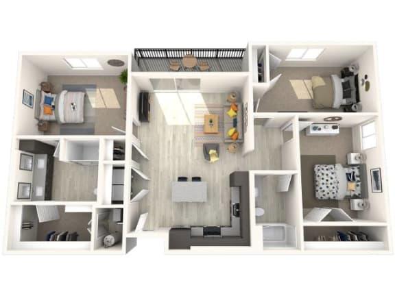 C3 Floor Plan at Paradise @ P83 Apartments, P.B. BELL Assets, Peoria, AZ, 85382