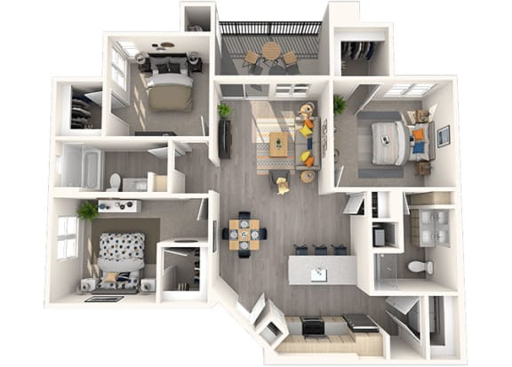 C-1 Floor Plan at Grayson Place Apartments, Goodyear