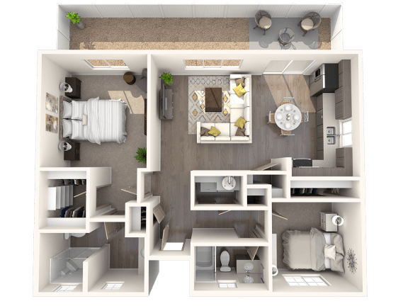 Floor Plan  TG Plan 2 Floor Plan at Parke Place Apartments, P.B. BELL, AZ 86314