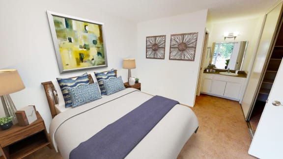 Carpeted bedrooms at Shepard Place Apartments, Carpinteria
