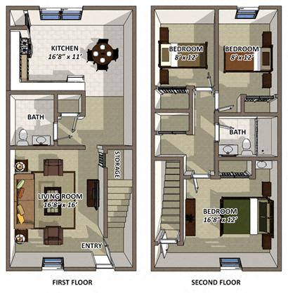 The Charleston floor plan at Hyde Park Townhomes and Aparments in Chester VA
