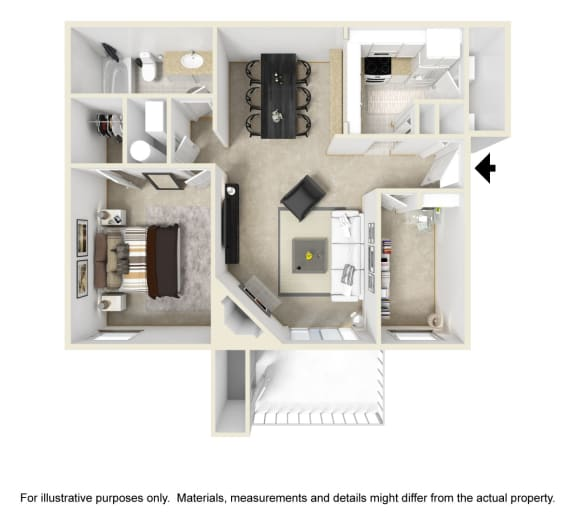 The Georgiana Floor Plan at Chinoe Creek Apartments in Lexington KY