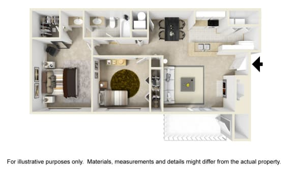 The Overbrook Floor Plan at Chinoe Creek Apartments in Lexington KY