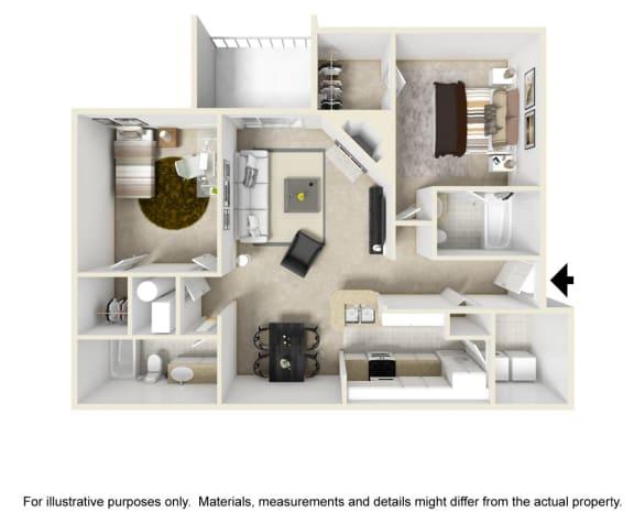 The Glencrest Floor Plan at Chinoe Creek Apartments in Lexington KY