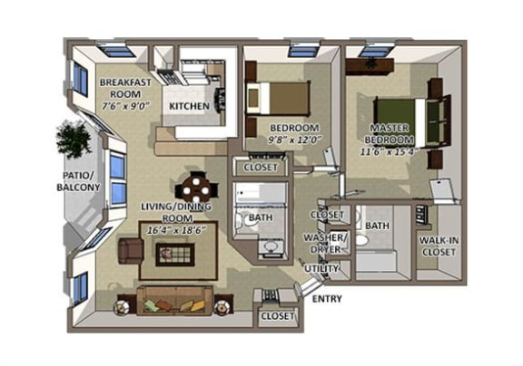 Cayman floor plan at The Villages of Banyan Grove Apartments in Boynton Beach FL