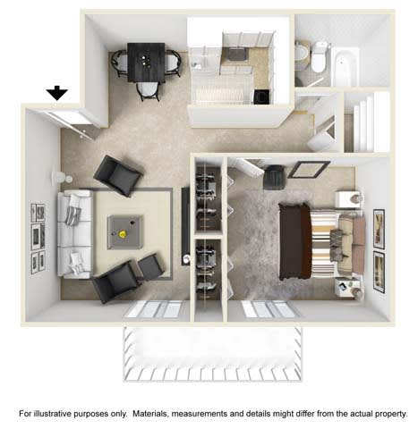 Midway Floor Plan at Tates Creek Village Apartments in Lexington KY